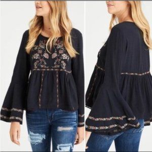 AE Floral Embroidered Peasant Bell Sleeve Top